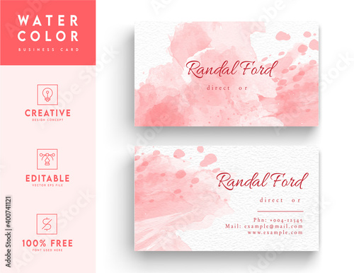 Fototapeta Pink and white aesthetic business id card template design obraz
