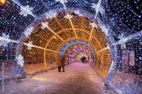Canvastavla Light tunnel at Tverskoy boulevard in Moscow. Russia