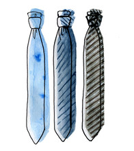 Illustration Of Hand Drawn Ties' Outlines And Watercolor Fill Fpr Icons, Postcards, Design, Typography Etc.