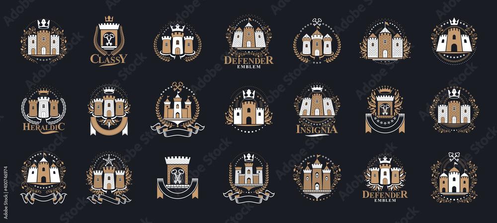 Fototapeta Vintage castles vector logos or emblems, heraldic design elements big set, classic style heraldry architecture symbols, antique forts and fortresses.
