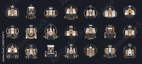 Papel de parede Vintage castles vector logos or emblems, heraldic design elements big set, classic style heraldry architecture symbols, antique forts and fortresses
