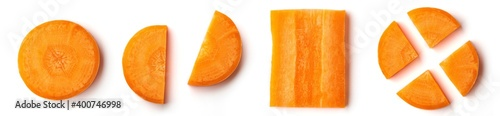Foto Carrot slices isolated on white, from above