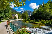 River Traun In The Village Bad Aussee In Austria