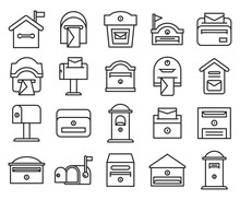 Mailbox And Postbox Icons Set Line Design Vector