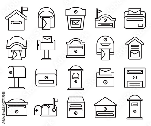 Canvas Print mailbox and postbox icons set line design vector