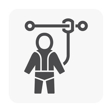 Safety Harness Vector Icon. That Uniform Or Tool With Rope Or Cable Is Personal Protective Equipment (PPE) For Wear To Work At Height Building To Protect, Safe Or Prevent Builder Person Fall, Injury.