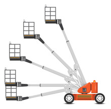 Straight Or Telescopic Boom Lift Vector. Separate Layer Of Angle. Aerial Work Platform Or Elevator With Boom, Bucket, Hydraulic. For Transport, Maintenance, Construction. Separate Layer In Angle.