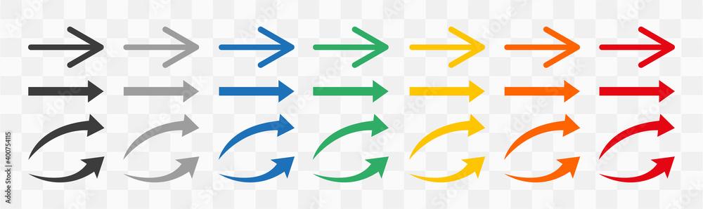 Fototapeta Arrows colorful set .Arrows. Arrow icon. Colorful arrows . Vector illustration