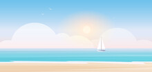 Beach Landscape Vector Illustration. Cartoon Seascape Scenery With Beachside View, Blue Sea Or Ocean Water Waves, Yacht Sailboat And Shining Sun In Sky, Ship Boat Cruise Summer Adventure Background