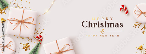 Fototapeta Christmas banner. Background Xmas design of realistic white gift box, 3d render decorative holiday objects, Horizontal poster, greeting card, headers for website. Merry Christmas and Happy New Year.  obraz