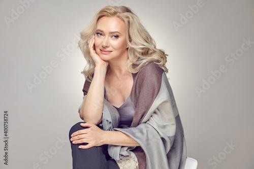 Obraz na plátne Beautiful female mature age feels good