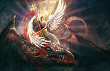 Saint Archangel Michael Killing Dragon