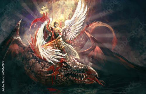 Canvas Saint Archangel Michael killing dragon