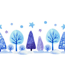Seamless Watercolor Border With Winter Trees, Fir Trees, Snow Drifts And Stars. For Postcards, Packaging, Wrapping Paper, Decorative Ribbons And Other Designs.