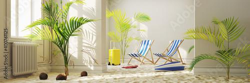 Obraz Tropischer Strand zu Hause als Urlaub im Lockdown Konzept - fototapety do salonu