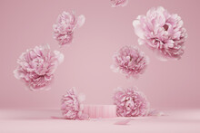 3D Display Podium Pastel Pink Flower  Background. Peony Blossom Falling Down. Nature Minimal Pedestal For Beauty, Cosmetic Product Presentation. Valentine, Feminine Copy Space Template 3d Render