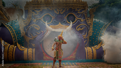 Fotografie, Obraz Khon is art culture Thailand Dancing in masked Tos-sa-kan and Hanuman are fighting in literature Ramayana
