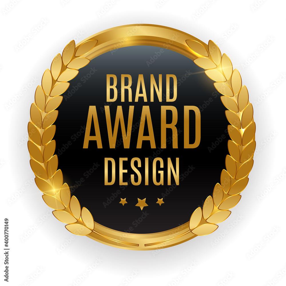 Fototapeta Premium Quality Gold Medal Badge. Label Seal Brand Award Design Isolated on White Background. Vector Illustration EPS10
