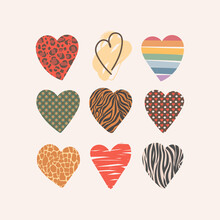 Set Of Valentine Hearts Of Different Textures. Vector Hand Drawn Design Elements For Cards, Textiles, Paper, Stickers. Leopard, Brindle, Cage, Rainbow, Zebra, Giraffe. Isolated On White Background