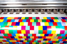 Large Format Ecosolvent Printer At Work. Printing Color Cubes