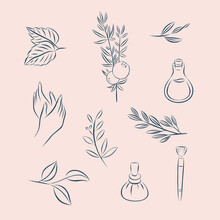 Wellness Spa Icons Symbols Isolated Selfcare