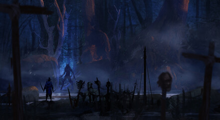 Digital painting of an adventuring bounty hunter crossing paths with a dangerous werewolf in an epic forest environment - fantasy illustration