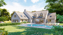 Classical Pitched Slate Roof House With Pool And Garden