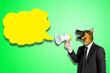 Leinwandbild Motiv Dog businessman shouting at empty cloud bubble
