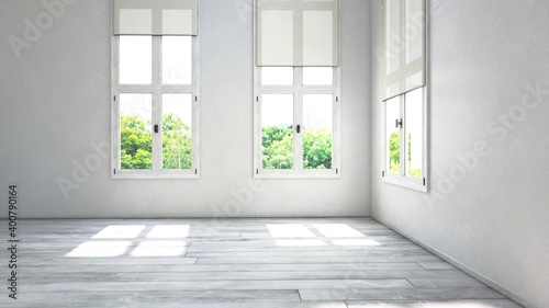 Empty room corner view with large windows. 3D Rendering #400790164