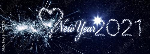 Fototapeta New Year 2021 als Leuchtschrift aus Lichterketten obraz