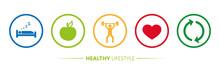 Healthy Lifestyle Icons Sleep Apple Yoga Heart Sport Vector Illustration EPS10