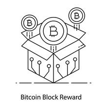 Bitcoin Coming Out Of The Box Representing Bitcoin Block Reward