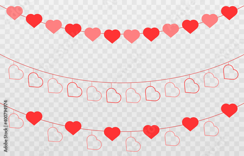 Vector garland of hearts Tapéta, Fotótapéta