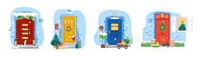 Christmas And New Year Doors And Windows Collection. Holiday Vector Illustration For Christmas Banners, Placards And Posters.