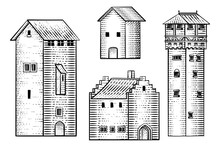 A Set Of Old Medieval Houses And Other Building Drawings Or Map Design Elements In A Vintage Engraved Woodcut Style