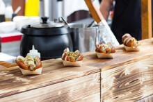 Hot Dogs On A Wooden Street Food Stall