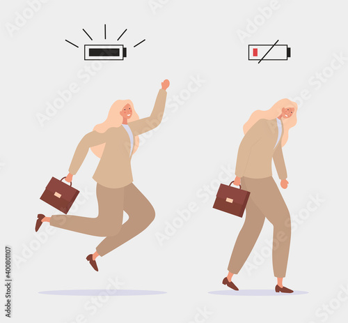 Canvastavla Energetic and tired women characters office workers and battery indicator showing their vital energy level