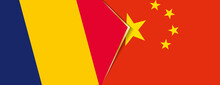 Chad And China Flags, Two Vector Flags.