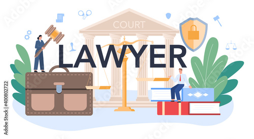 Canvas Print Professional lawyer typographic header. Punishment and judgement.