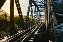 The Railway Track On The Bridge