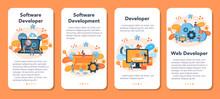 Software Developer Mobile Application Banner Set. Idea Of Programming