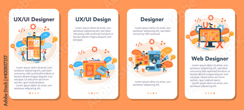 Tablou Canvas UX UI designer web banner or landing page set