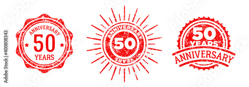 A group of 50 years anniversary logos drawn in the form of stamps, red frames for celebration Fototapet