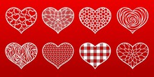 Hearts Paper Cut Templates With Carved Pattern. Valentine's Day Card, Wedding Invitations. Vector Set Stencils. Decorative Holidays Symbol. For Laser, Plotter Cutting, Printing On T Shirts.
