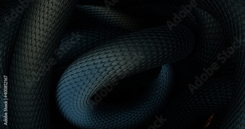 Photo Snakes Abstract Background. 3D illustration