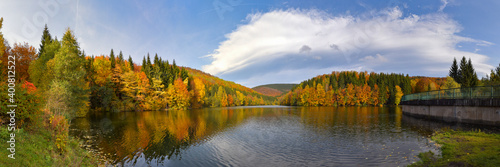 Fototapeta Panorama Erletor Talsperre im Thüringer Wald