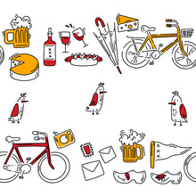 Doodle Pattern With Cheese, Wine, Klomps And Other Other Tourist Stuff. Hand Drawn Pattern In Doodle Style. Vector Image, Clipart, Editable Details.