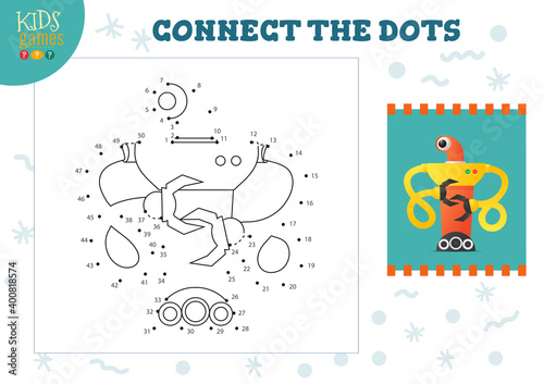 Connect the dots kids game vector illustration Tapéta, Fotótapéta