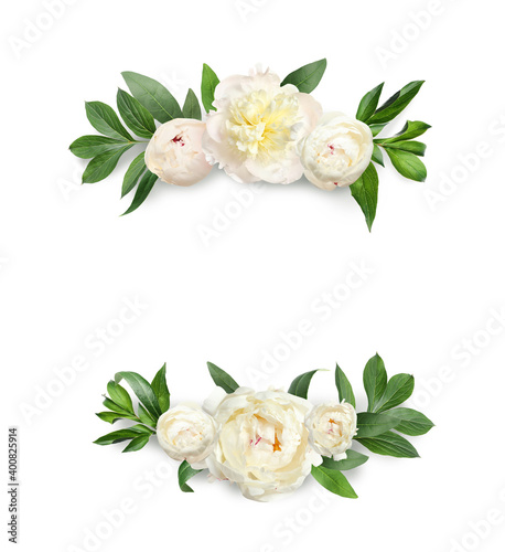 Canvas Print Wreaths made of beautiful peony flowers on white background