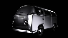 3d Render Of A Camping Bus, Isolated On Black Background